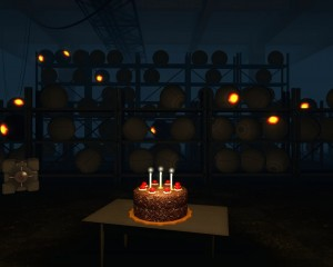 Portal cake with three candles